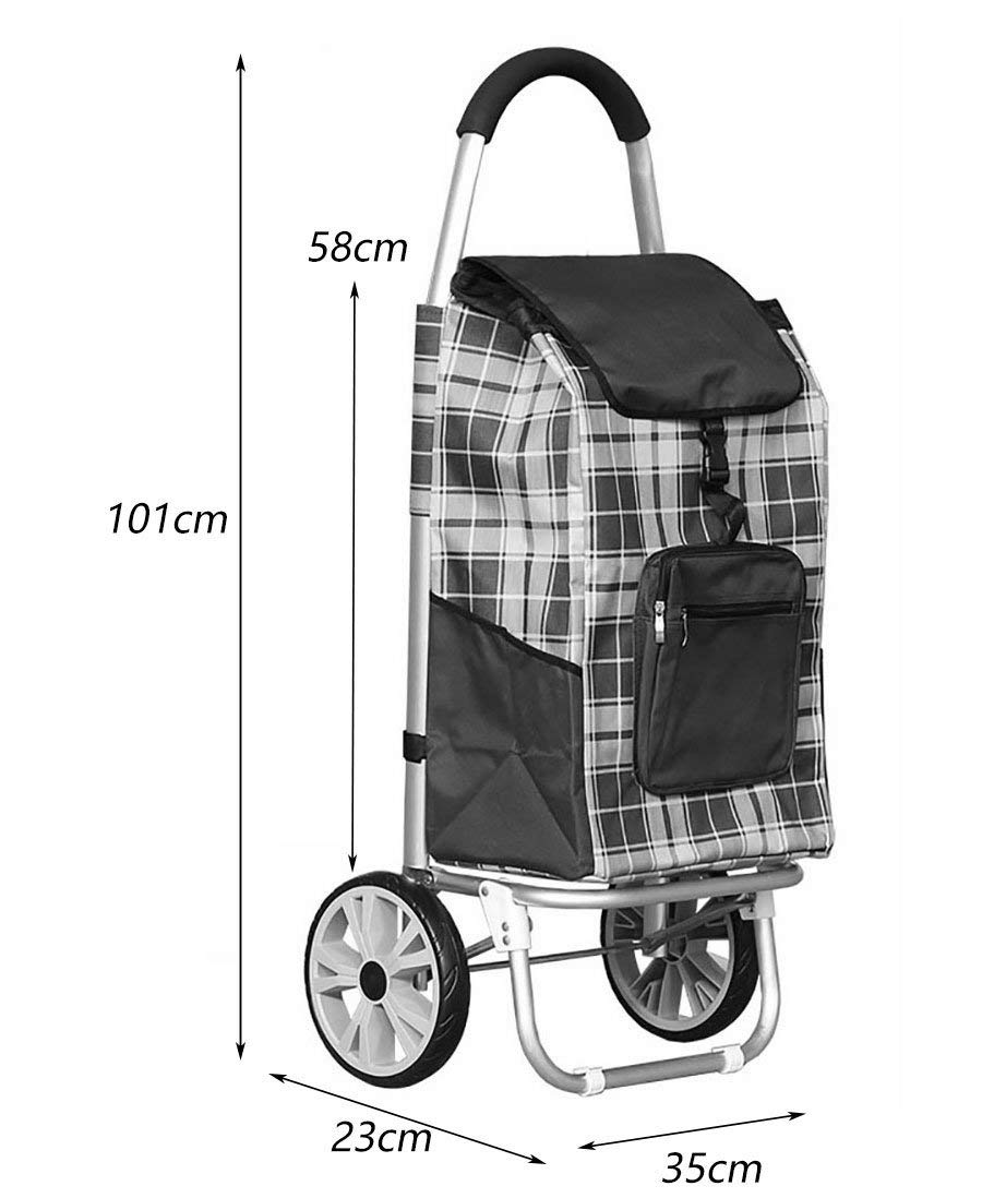 Zehaer Portable Trolley, ZGL Trolley Trolley Aluminum Alloy Old Man Shopping Cart Fold Shopping Cart Portable Pull Rod Car Hiking Luggage Cart Hand Car (Color : Red) (Color : Red) by Zehaer (Image #2)