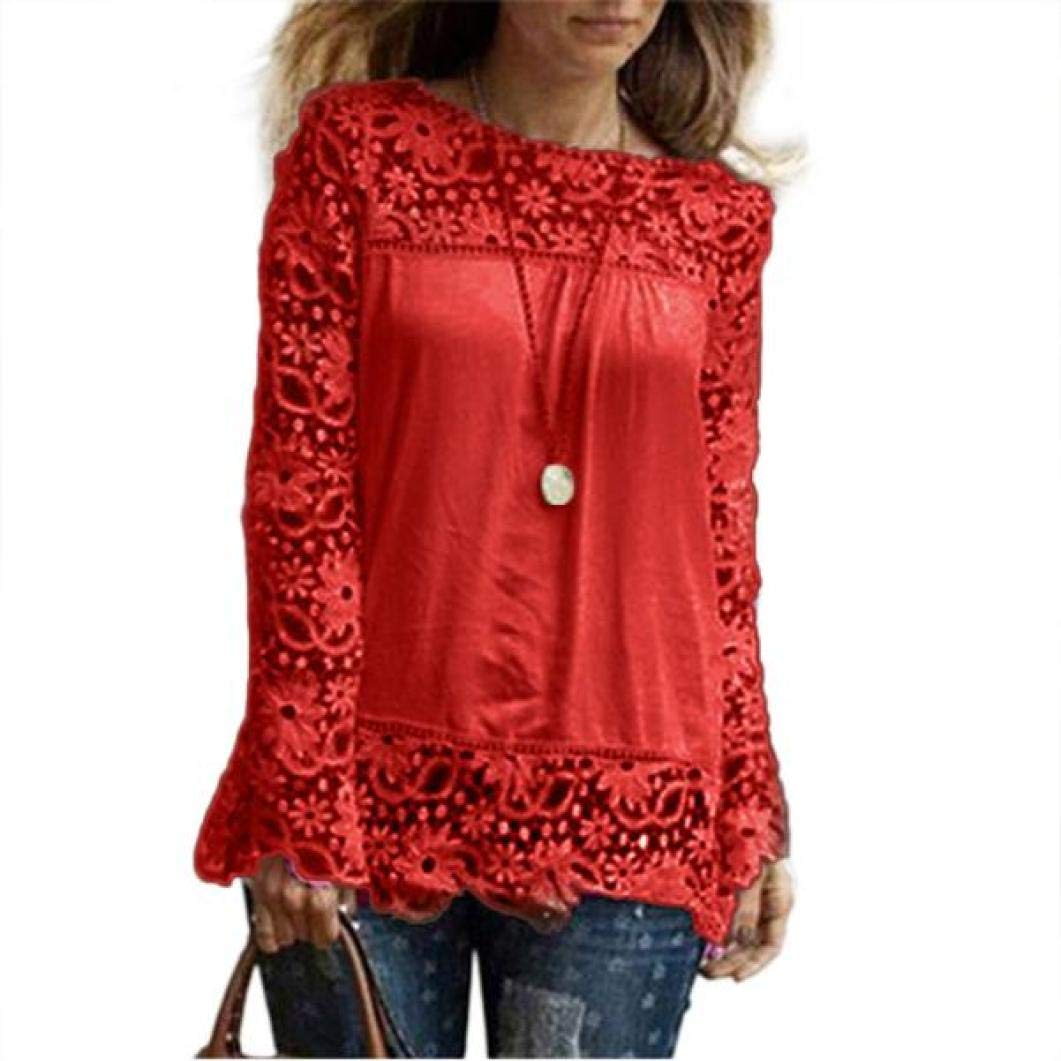 Women Plus Size Hollow Out Lace Splice Long Sleeve Shirt Casual Blouse Loose Top(red,Small)