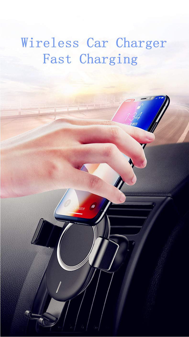 Wireless Car Charger 7.5W Compatible for iPhone Xs Max//Xs//XR//X//8//810W Compatible for Samsung Galaxy S9//S9+//S8//S8+//S10//S10+//Note 8//9 Air Vent Phone Holder