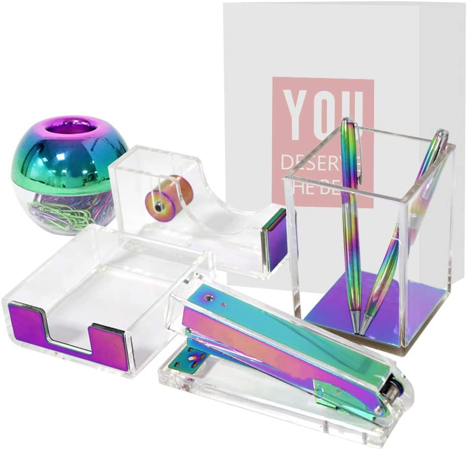 Clear Acrylic Rainbow Desktop Supplies Office Stationery Set Tape Dispenser, Memo Holder, Magnetic Paper Clips Holder, Stapler, Pen Pencil Makeup Brushes Holder (5 Packs Clear Rainbow)