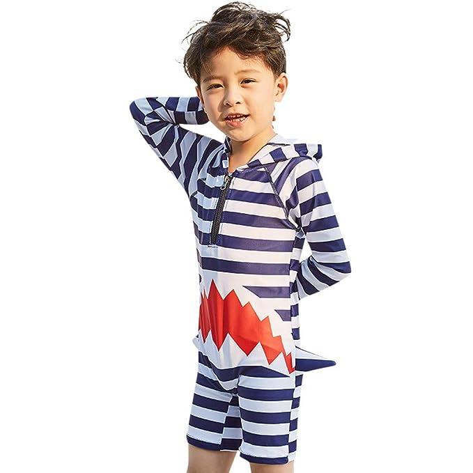 d825cd4a45 Boys Rash Guard Swimsuit Long Sleeve,Wesracia Kids Hooded Surf Swimwear  Shark Striped Bathing Suit