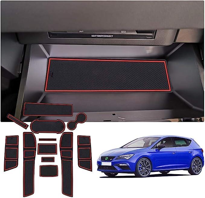 Yee Pin Gummimatten Seat Leon Cupra 5f Zubehör Interieur Rutschfeste Matten Für Mittelkonsole Aufbewahrungsbox Autoteile Innenausstattung Rot Auto