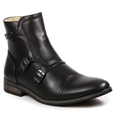 UV SIGNATURE UV811 Men's Cap Toe Triple Monk Strap Formal Dress Casual Ankle Boots (10.5 D(M) US, Black) | Boots