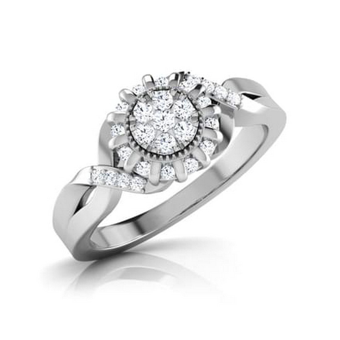 14K White Gold (HallMarked), 0.33 cttw Round-Cut Diamond (IJ | SI ) Diamond Engagement Wedding Ring Size - 7