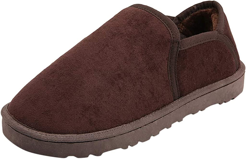 Mens Soft Thick Plush Lining Genuine Cowhide Indoor Outdoor Slip-On Romeo Loafers