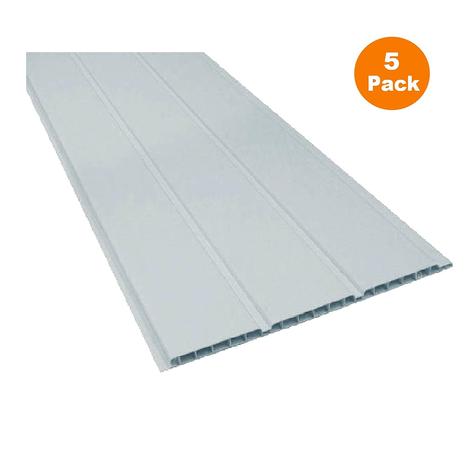 5 x 2.5m Length x 300mm UPVC Plastic White Hollow Ceiling & Wall Cladding Home Smart