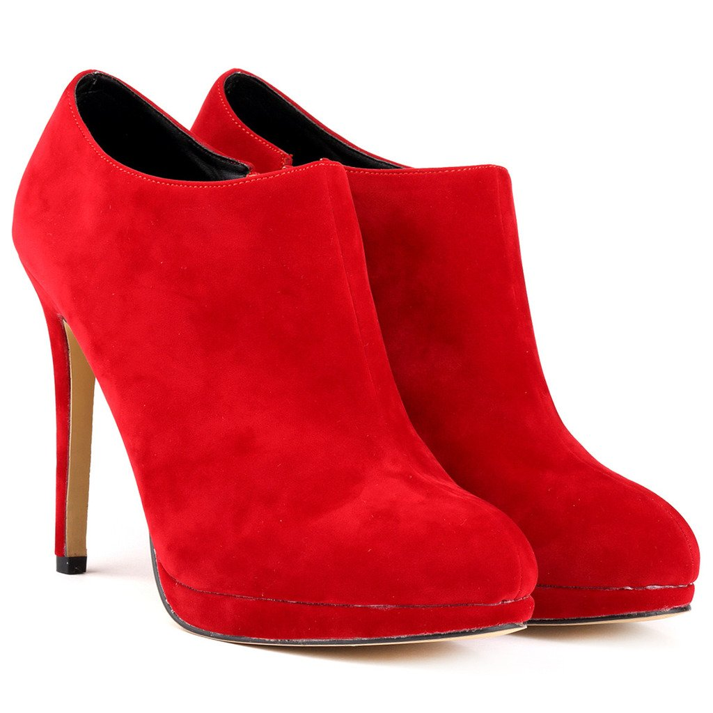ZriEy Women's Faux Velvet Platform High Heels Sexy Ankle Boots Red Size 9 by ZriEy (Image #8)