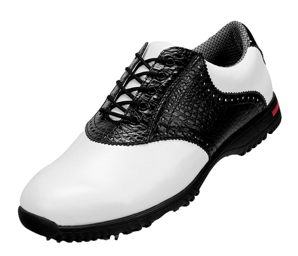 (ロモンス)Romons メンズ イングランド風 Golf ゴルフシューズ 鰐柄 防水 滑り止め スパイク B01HDEHZQM 25.0 cm ブラック
