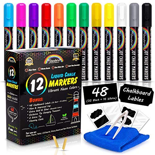 Rainbow Joy Liquid Chalk Markers -12 Pack Erasable Neon Colors Bistro Pens With Gold Silver Colors Cleaning Cloth 48 Chalkboard Labels 2 Tip Reversible Bullet Chisel Tip Increased Ink Capacity New Cap
