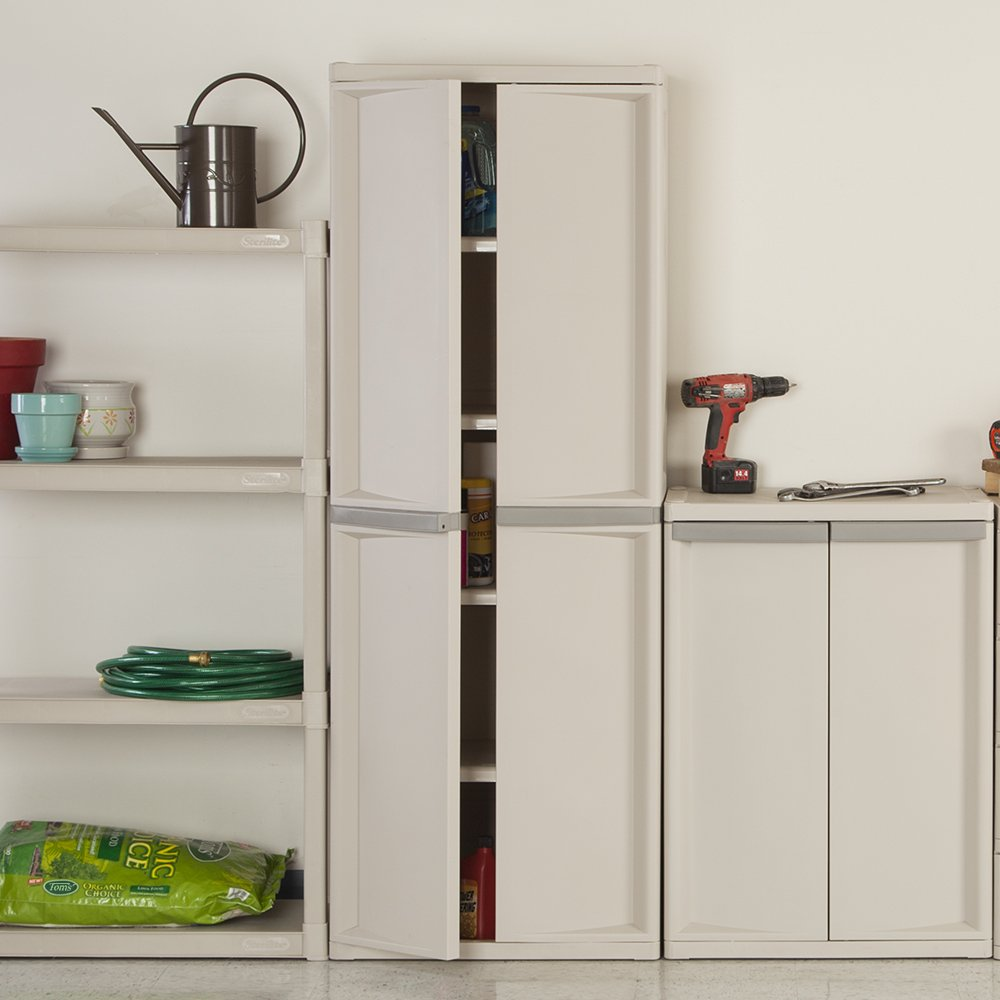 cabinet utility with putty storage handles home sterilite shelf l platinum walmart design cabi ideas