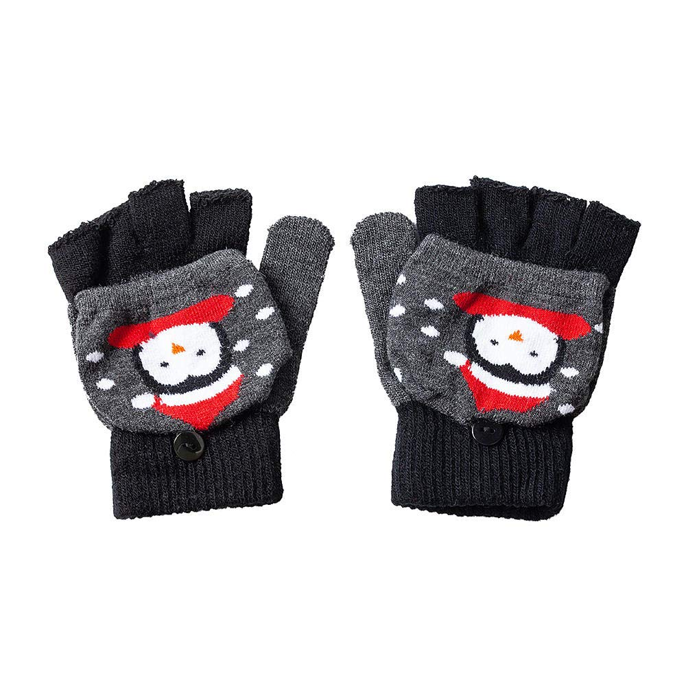 LIVINGbasics Unisex Kids Convertible Flip Top Gloves with Mitten Cover Penguin