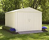 Commander, 10x10, Hot Dipped Galvanized Steel, Eggshell, High Gable, 71.3'' Wall Height, Extra Wide Swing Doors