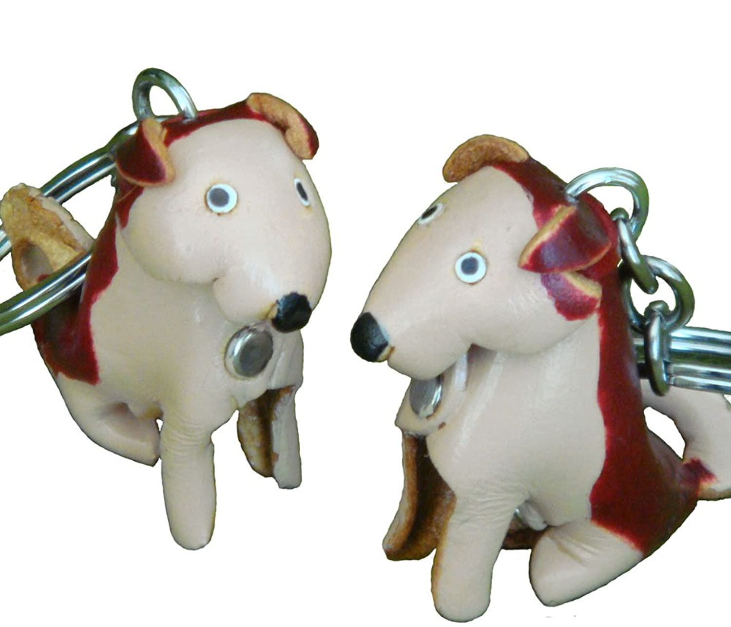 A Pair (2 Pieces) of Genuine Leather Keychain/bag-charm, Red Mix Chihuahua Dog