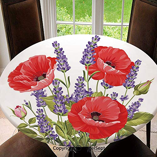 Elastic Edged Round Tablecloth Bunch of Lavender and Poppy Flowers Fresh Rustic Botanical Bouquet Decorative Polyester Washable Table Cover Kitchen Restaurant Party Decoration, Round - 63