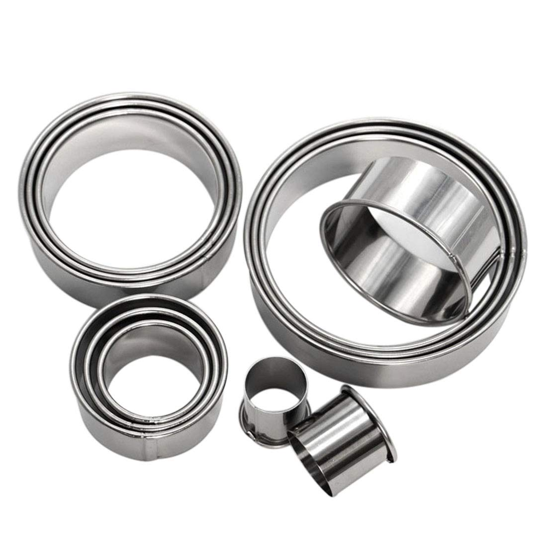 Enerhu 12PCS Adjustable Cake Ring Mold Stainless Steel Mousse Mold for Cooker