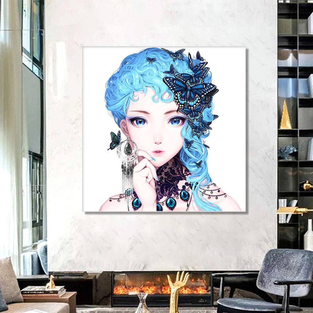 Kingko® DIY 5D Diamond Painting Kit Butterfly Anime Beauty Crystal Embroidery Cross Stitch Arts Craft Canvas Wall Decor,40x30cm D