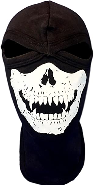 ADULT Glow in the Dark 2-EYE Vampire Fangs Skull Face SKI HOOD Mask Helmet Liner