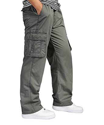 4530314e06e2 TAIPOVE Mens Cargo Pants Combat Work Trousers Casual Slacks Cotton Outdoor  Wear Relax Fit W Side Leg Pockets 34