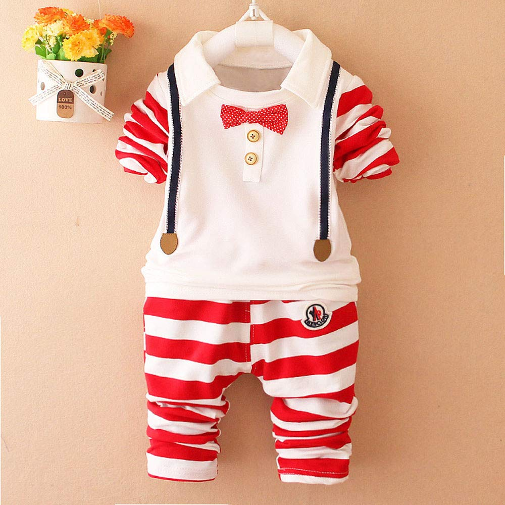 Pants Outfit Kids Clothes 2Pcs Set Baby Kids Outfits,Fineser Toddler Baby Boy Long Sleeves Stripe Bow Tie Top T-Shirt
