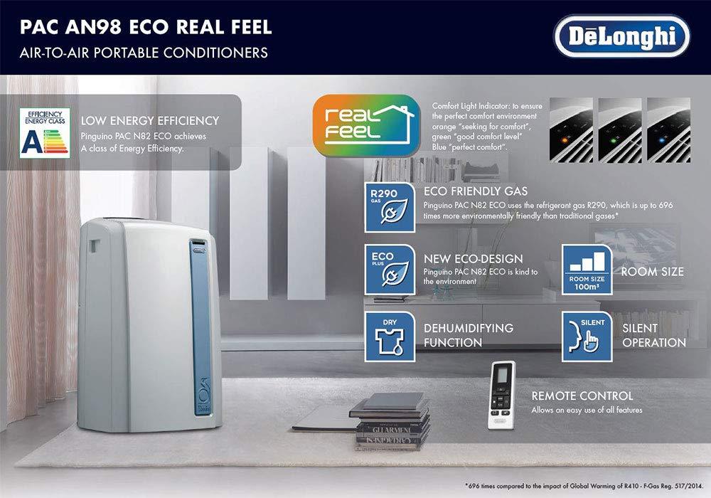 DeLonghi Pac AN98 Aire Acondicionado portátil, capacidad refrigeración 10.700 BTU, tecnología Real Feel comfort óptimo, función ventilador y ...