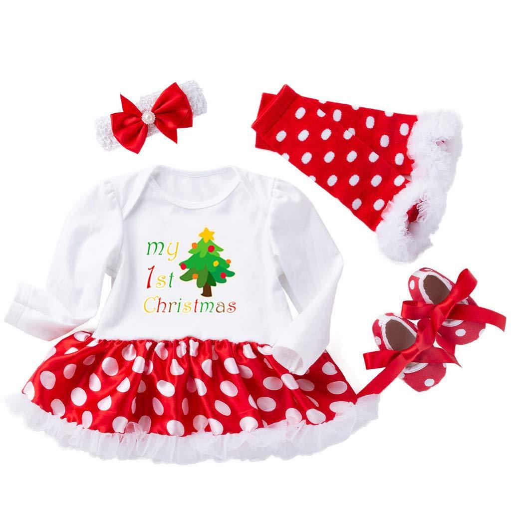 ab85445917cbb Amazon.com   Newborn Girls Christmas Dress Clothes Sets Baby Girls Xmas  Tree Long Sleeve Dress Romper Dot Dress Pants 4pcs Outfits (age  12-18  Months