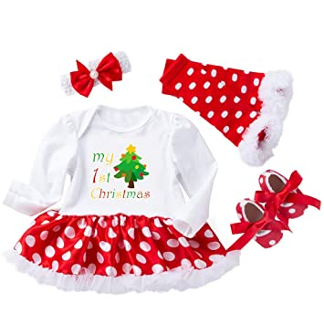 2dcb4e011 Amazon.com   Newborn Girls Christmas Dress Clothes Sets Baby Girls ...