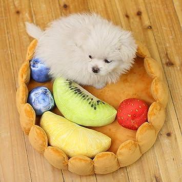 Hutiee Cama Perro, Gato de Nido Gato de tamaño Mediano Redondo, Forma de Tarta Oruga en Forma de caseta Alfombra de Frutas Ajustable Joli Cachorro: ...