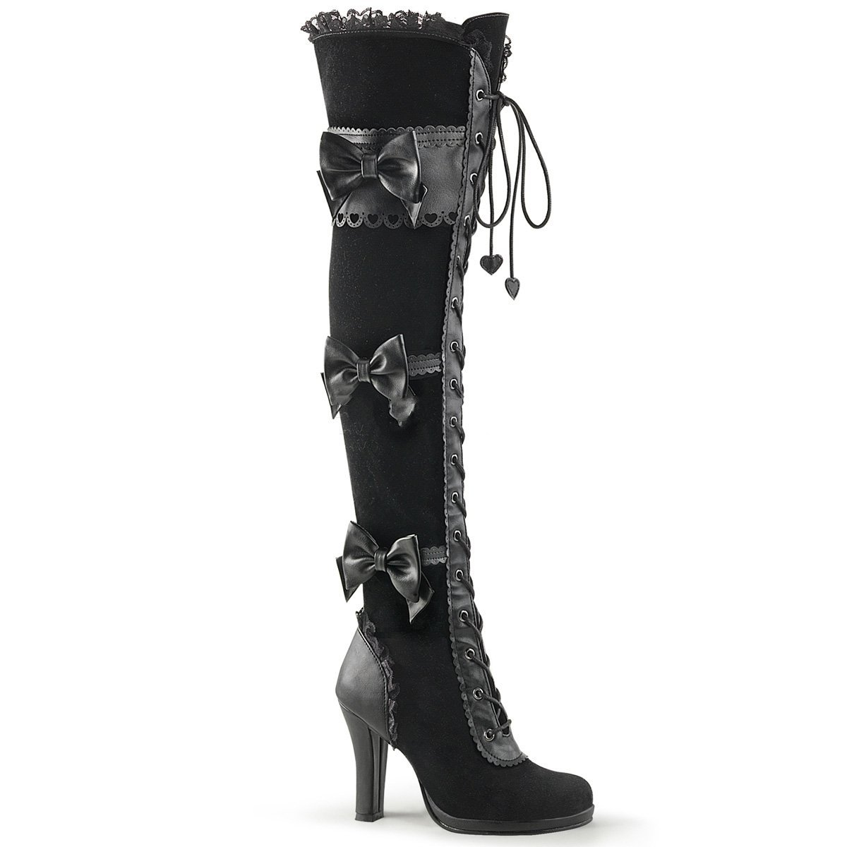 f9f864040d2 Demonia GLAM-300 Women 3 3/4 Heel, 1/2 Platform Goth Lolita Lace-up Front  Over-The-Knee Boot