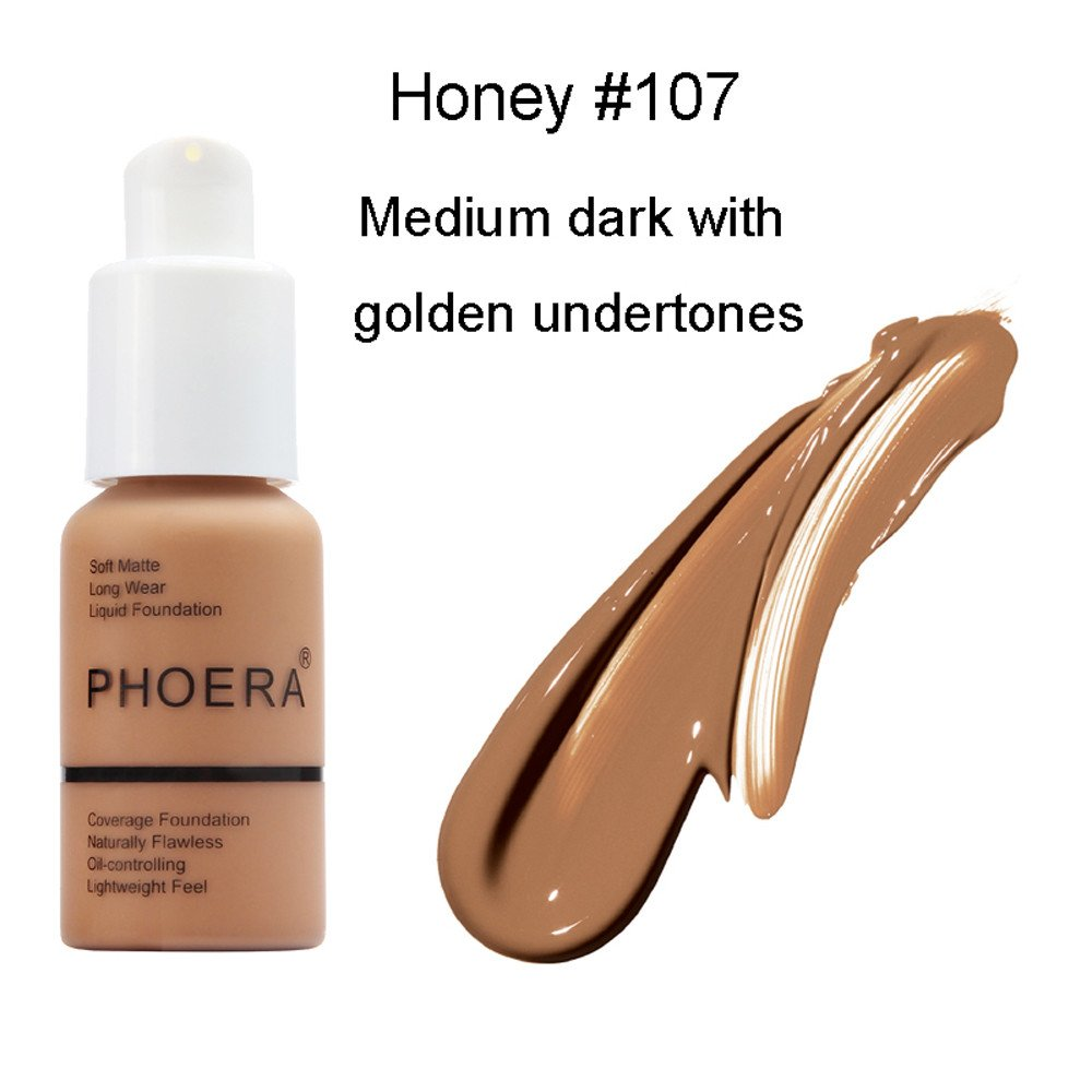 Liquid Foundation,30ml New PHOERA Matte Oil Control Concealer Liquid Foundation (G)