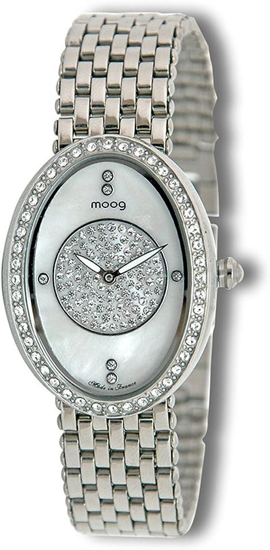 Moogパリ – Flocon – Women 's Watch withホワイト母のパールダイヤル、ステンレススチールシルバーストラップで、Made in France – m45704 – 002