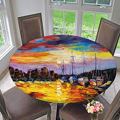 PINAFORE HOME Round Premium Table Cloth Oil Paint Fish Village Perfect for Indoor, Outdoor 43.5