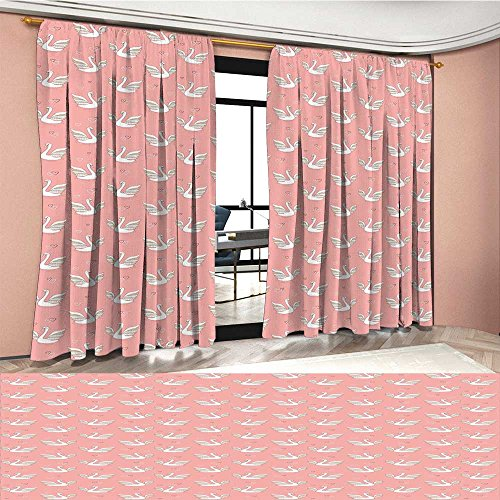 LedfordDecor Swan Room Darkening Wide Curtains Hand Drawn Style White Birds on Coral Backdrop with Patterned Wings and Little Hearts Customized Curtains (Wings Heart Drops)