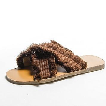 DYY Zapatillas Rojas netas, Zapatos Planos de Moda, Sandalias de Tejido Cruzado de Verano 2018,Marrón,37: Amazon.es: Deportes y aire libre