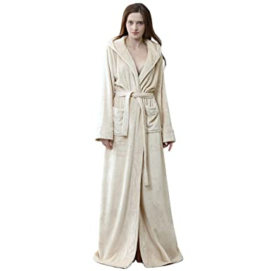 5f6821293a Robes for Women with Hood Long Soft Warm Full Length Sleepwear Luxurious  Plush Fleece Winter Ladies