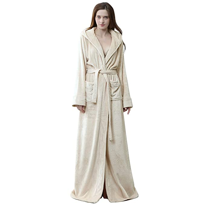 special promotion brand new clearance prices Robes for Women with Hood Long Soft Warm Full Length Sleepwear Luxurious  Plush Fleece Winter Ladies Robes