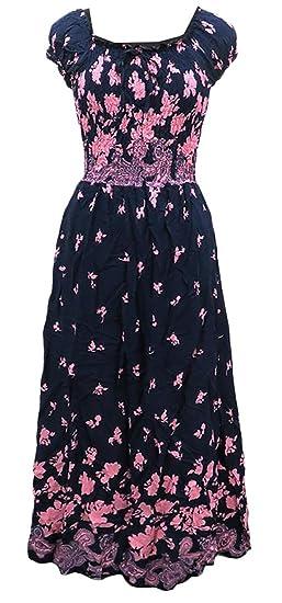 Fulok Womens Fashion Elegant Print Chic Round Neck Beach Dress At