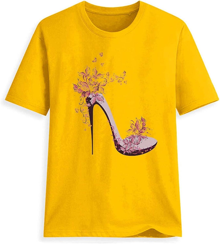 Duiyt T Shirts Women Short Sleeve High Heels Printed Tops Beach Casual Loose Tops T Shirt Graphic Tees Women European Top Pink XXL United States