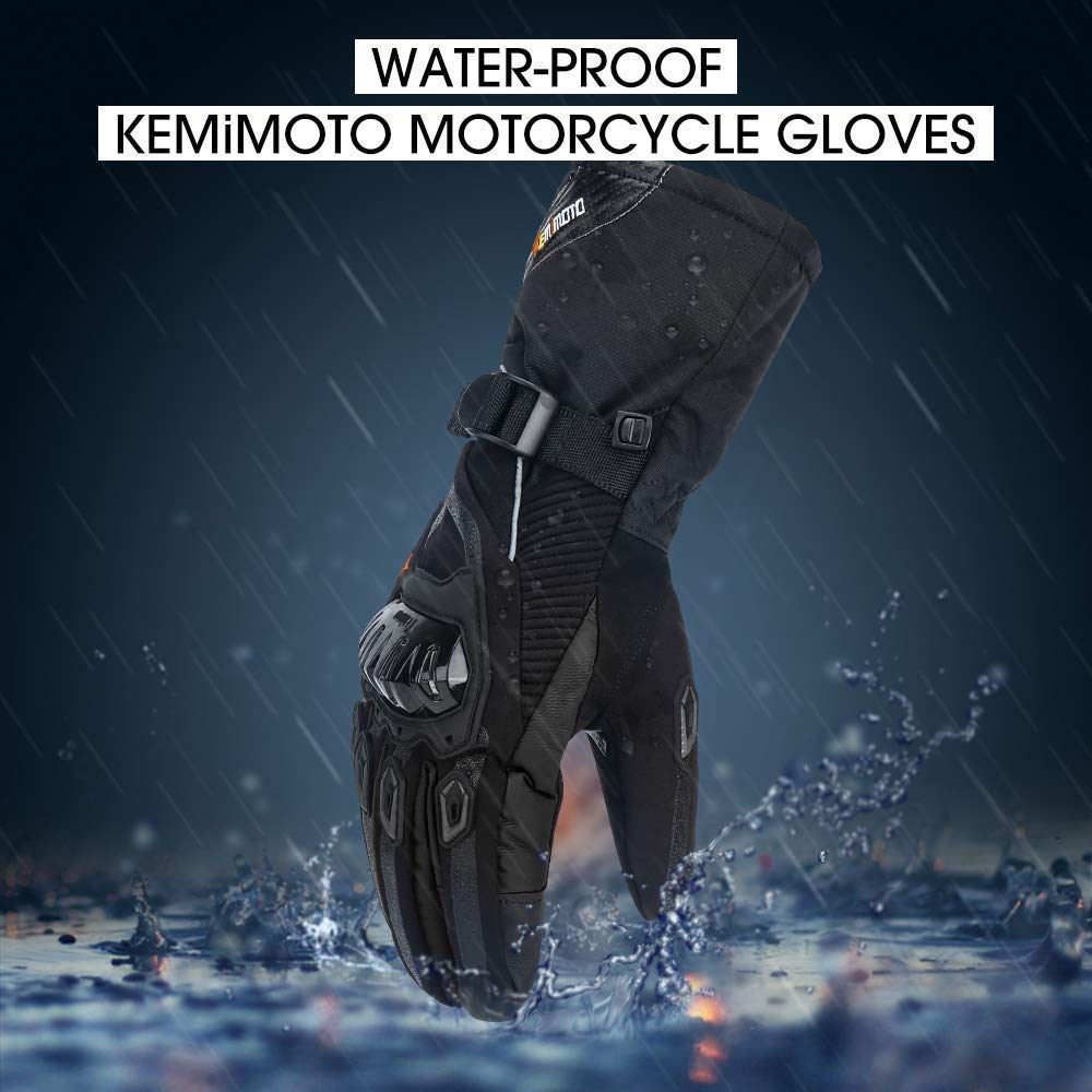 Warm Waterproof Motorbike Gloves with Hard Knuckle Protection Breathable Gloves for Winter Riding Scooter KEMIMOTO Winter Motorcycle Gloves ATV Black X-Large Snowmobile