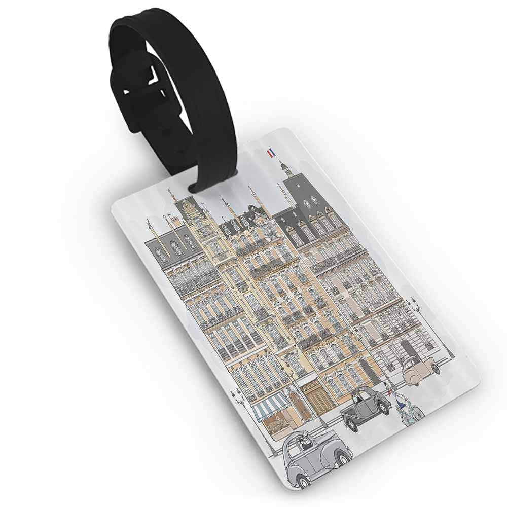 Creative boarding pass Paris City Decor Collection,Trocadero and Eiffel Tower at Sunshine Paris Skyline Historic Landscape View,Grey Ivory Address Tags