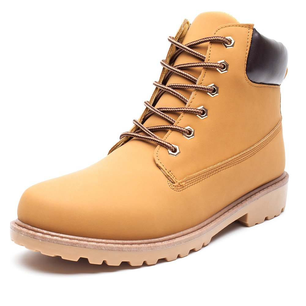 DRKA Mens Water Resistant Work Boots Comfortable Leather Plain Rubber Sole Industrial Construction Shoes jihui