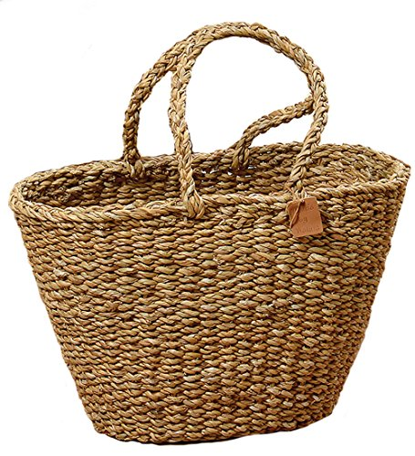 he Made By Nature Basket Tote, Beach Chic, Woven Seagrass, 17 ¾ Deep x 11 ¾ Wide x 10 5/8 Height Inches (45 x 30 x 27cm), By (Grass Woven Tote)