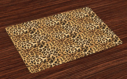 Wild Animals Placemat - Ambesonne Brown Place Mats Set of 4, Leopard Print Animal Skin Digital Printed Wild African Safari Themed Spotted Pattern Art, Washable Fabric Placemats for Dining Room Kitchen Table Decor, Brown