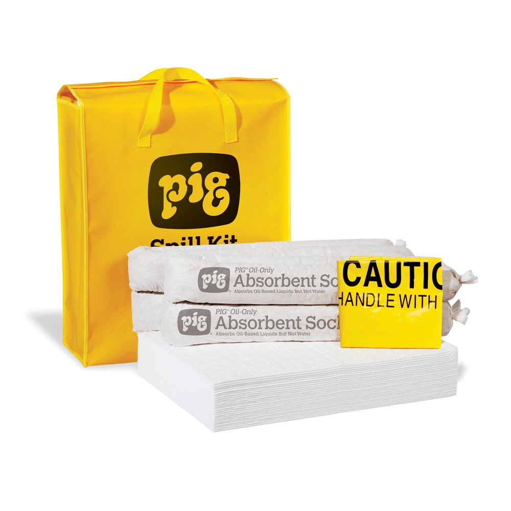 New Pig Oil-Only Spill Kit in High-Visibility Bag, Absorbs Oil-Based Liquids, Repels Water, 10-Gal Absorbency, Hi-Viz Portable Bag, KIT420 by New Pig Corporation
