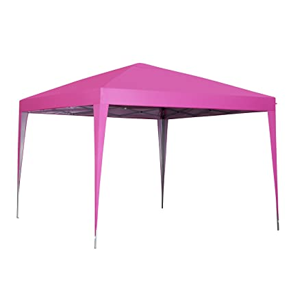 10 X 10 Ft Pop Up Canopy Tent Gazebo For Beach Tailgating Party Pink
