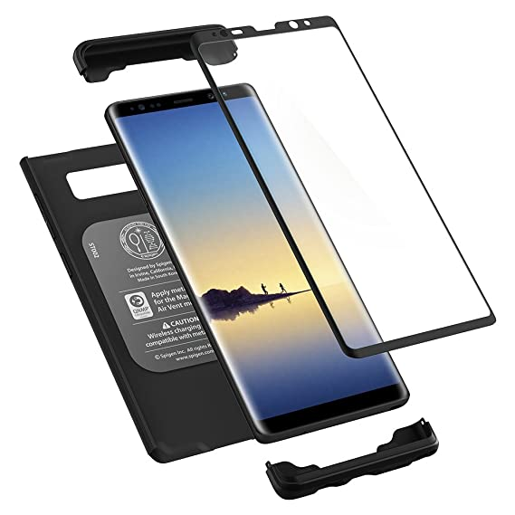watch 39460 dea12 Spigen Thin Fit 360 Designed for Samsung Galaxy Note 8 Case (2017) Tempered  Glass Screen Protectors Included - Black