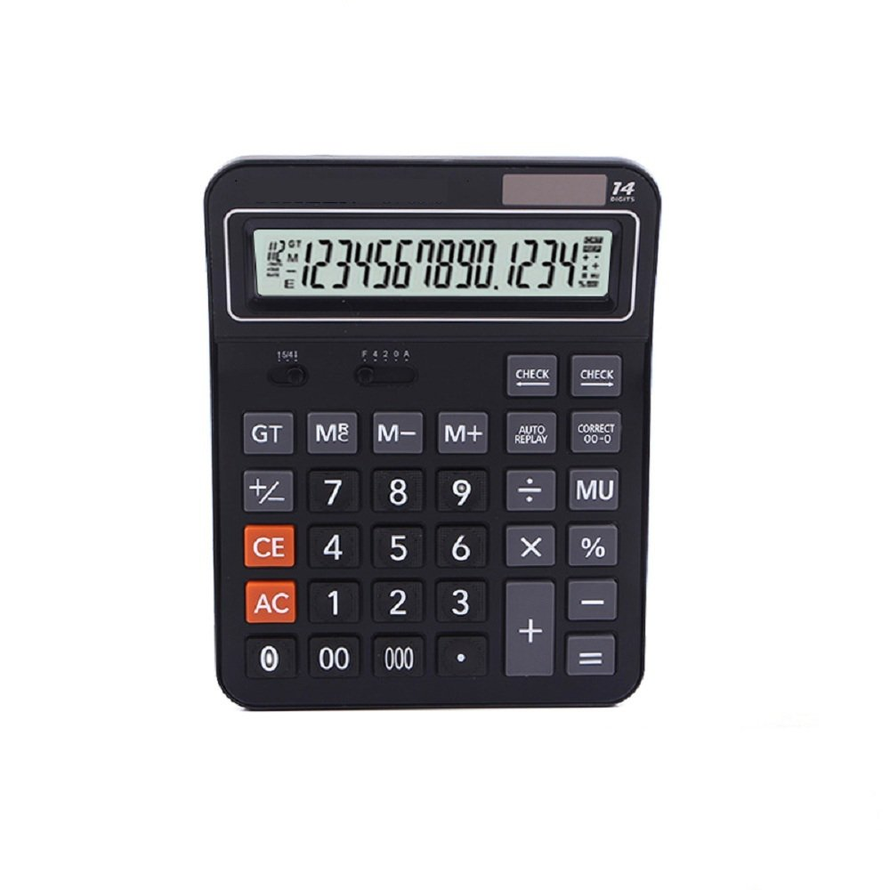 Professional Standard Large Desktop Calculator,Office/Business/ Electronic calculators with 14-digit Large Display, Solar and AAA Battery Dual Power Black