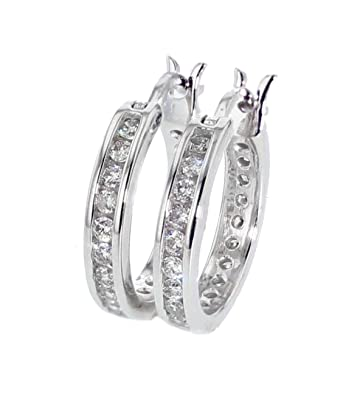 82006206709 Image Unavailable. Image not available for. Color  Mens or Womens Hoop  Earrings Full Round 15mm 14K White Gold ...