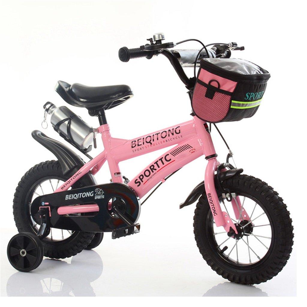 子供の自転車12|14|16|18|20インチ屋外の子供の赤ちゃんキッドマウンテンバイク黒のトレーニングホイールで2歳から11歳の男の子の女の子の贈り物|布バスケット|ウォーターボトルセーフダンピングピンク B078K2WVH1 16 inches