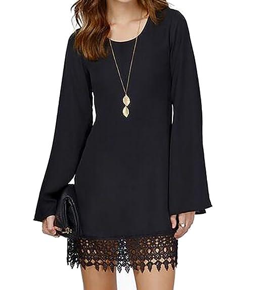 912f414bd789 SYTX Womens Stylish Long Sleeve Lace Hem Chiffon Loose Fit Dress Black S