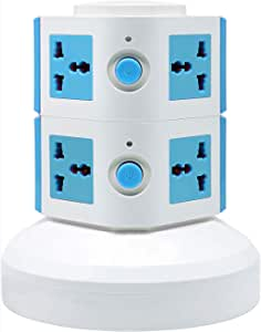 Universal Vertical Multi Socket 220V Electrical Tower Extension Outlet with USB Ports 3M Cord and UK-Plug Power Strip Multi Charging Station (2 Layers Multi Plug With USB Port, Blue)